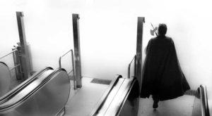bottom of the escalator